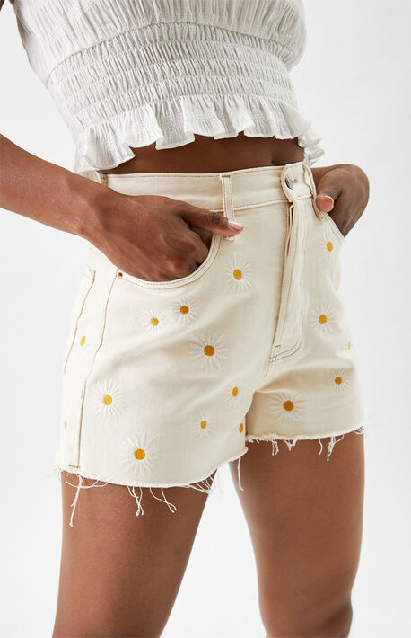 Daisy Embroidered Ultra High Waisted Vintage Denim Shorts