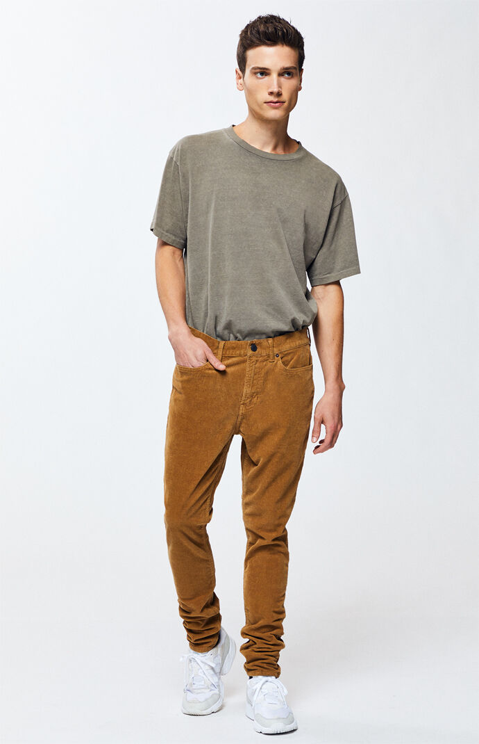PacSun Mens Tan Stacked Skinny Corduroy Pants