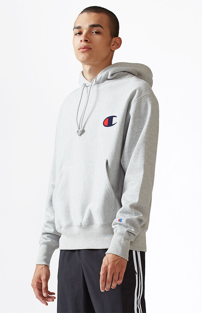 Champion Big C Reverse Weave Pullover Hoodie - Heather Grey 6772073
