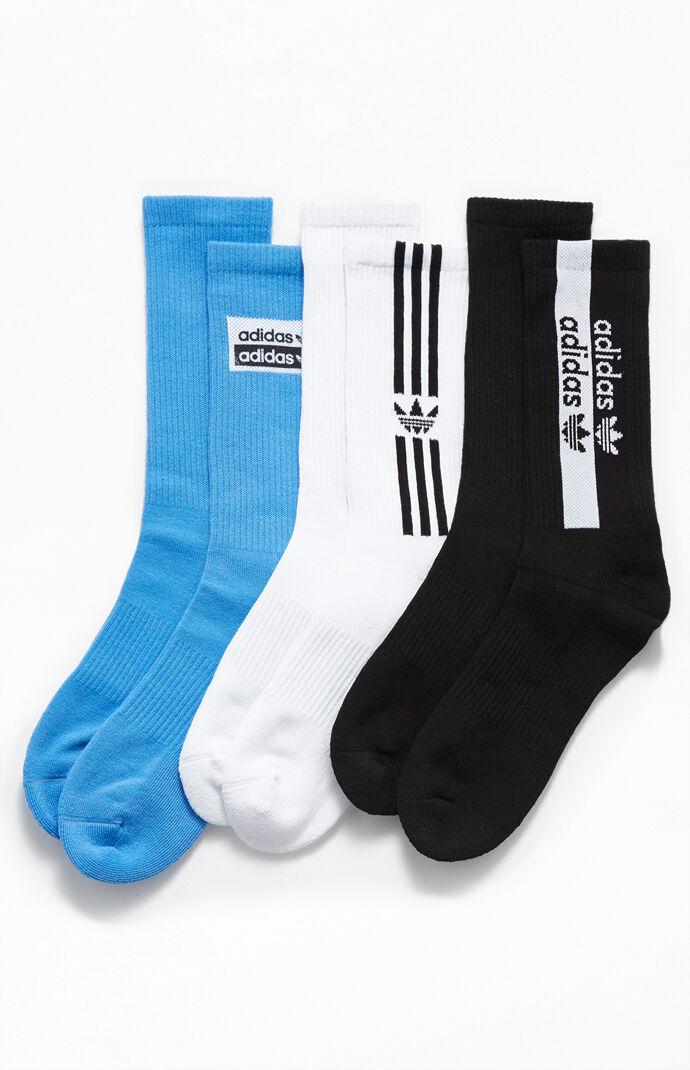 adidas Mens 3 Pack Stacked Forum Crew Socks - Blue/White