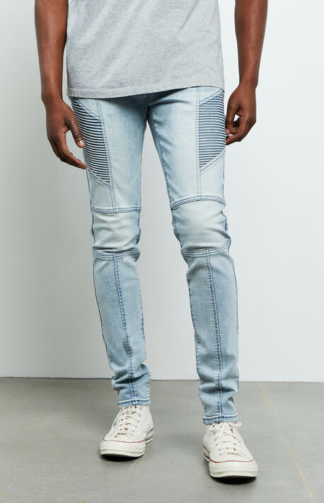 Maverick Light Indigo Moto Stacked Skinny Jeans