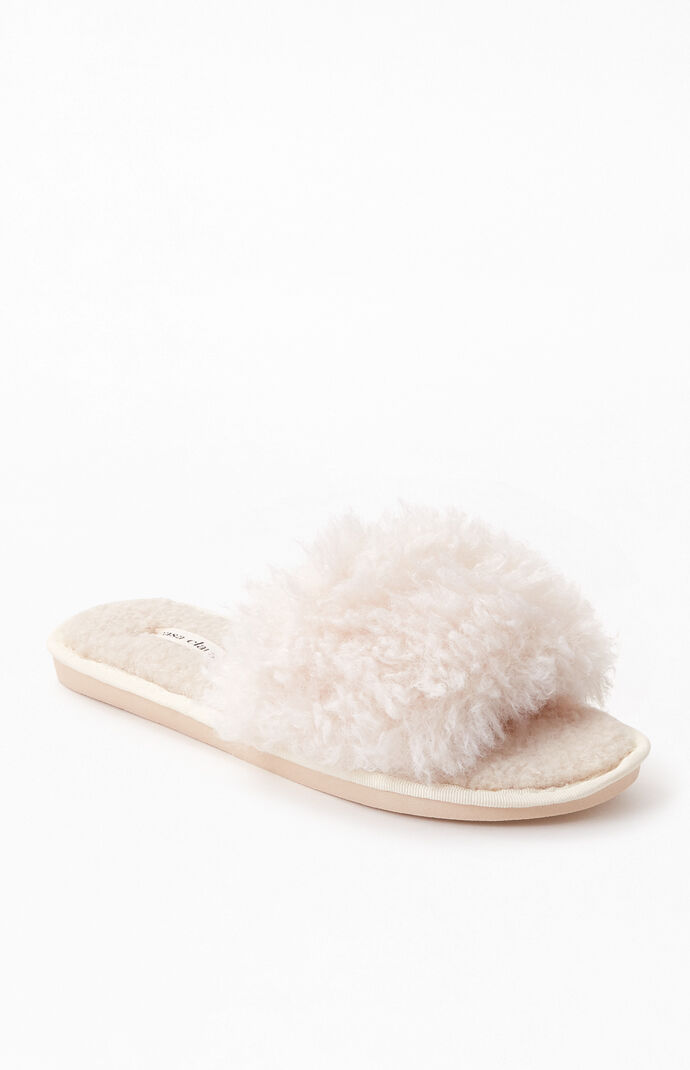 Cream Fuzzy Slide Slippers