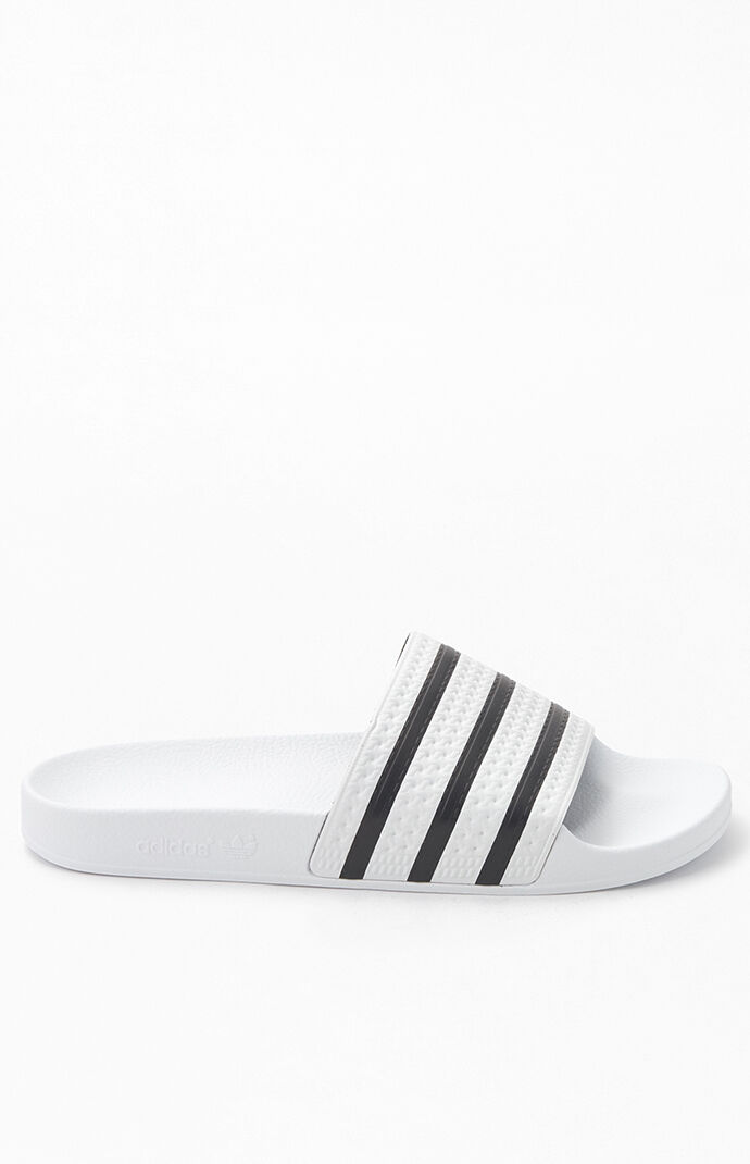 White & Black Adilette Slide Sandals