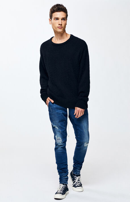 87c2108bb2 Drop Skinny Ripped Dark Denim Jogger Pants