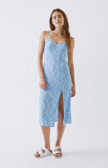 Printed Slit Midi Dress