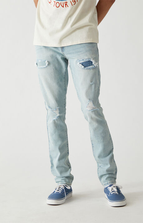 Light Ripped Stacked Skinny Jeans