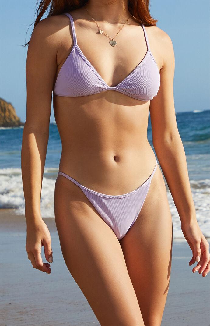 Eco Purple Fixed Skinny Bikini Bottom