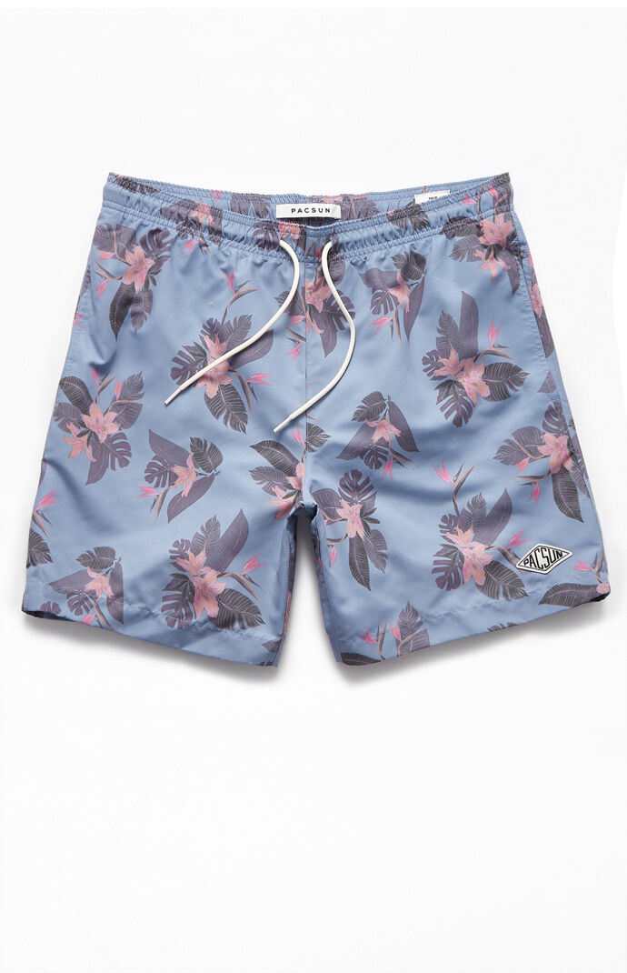 "Blue Floral 17"" Swim Trunks"