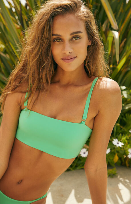 631378a353 Green Cosmo Cropped Bikini Top. LA Hearts ...