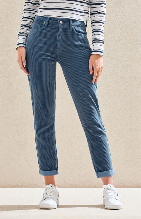 88de4bfe67d8f4 Dusty Blue Corduroy Mom Jeans