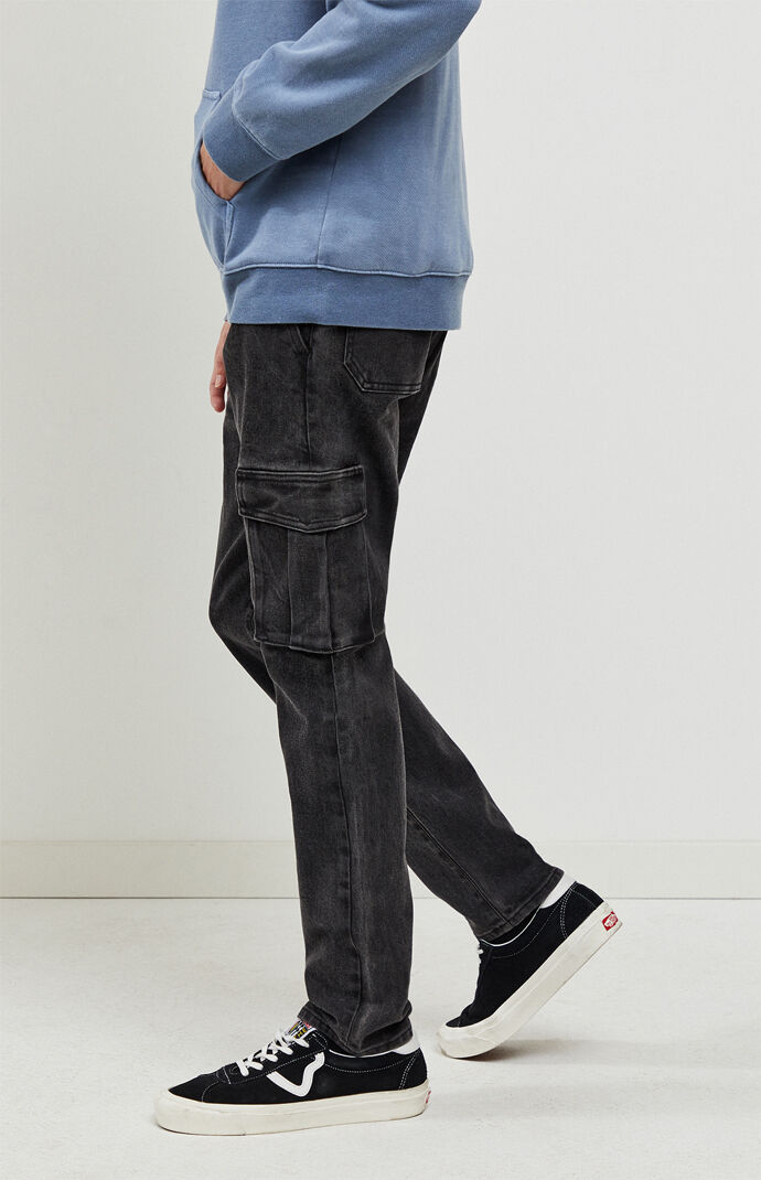 Washed Black Slim Taper Jeans