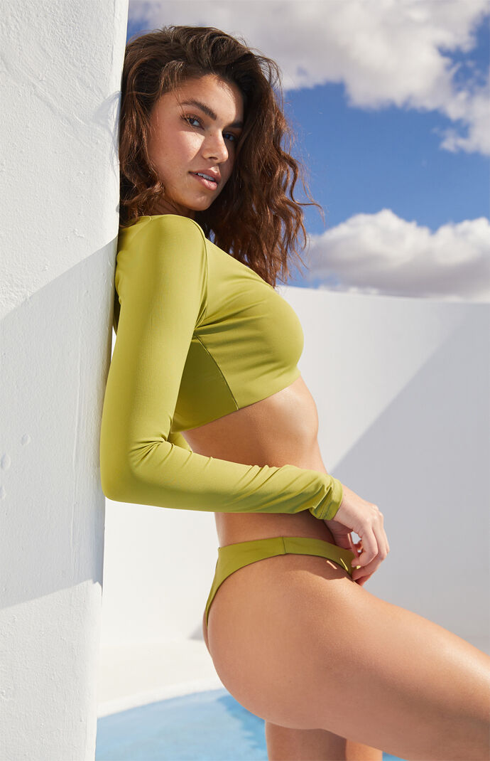 Eco Green Sig Long Sleeve Cropped Bikini Top