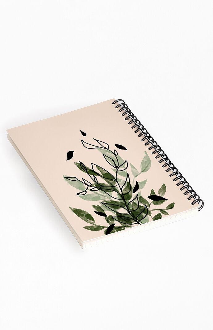 Aleeya Jones Green And Black Leaves Notebook