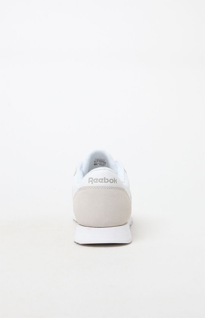 Classic White and Grey Leather & Nylon Shoes