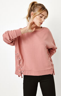 Side Lace-Up Crew Neck Sweatshirt