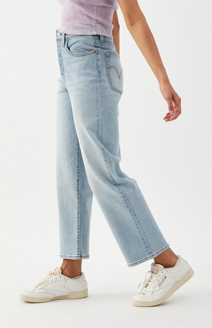 Medium Indigo Ribcage Straight Leg Jeans
