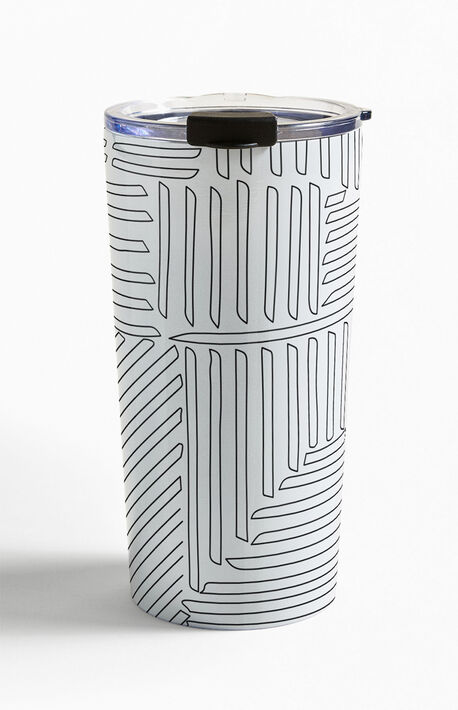 Striped Black And White Outline Travel Mug