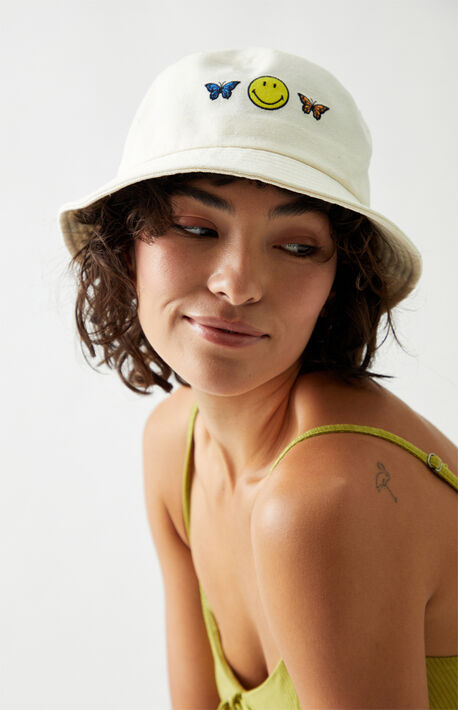 Butterfly Smiley Recycled Bucket Hat