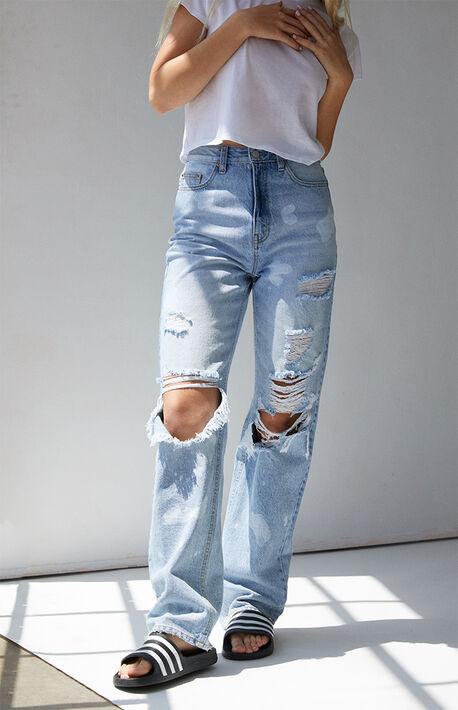 Light Blue Distressed '90s Boyfriend Jeans