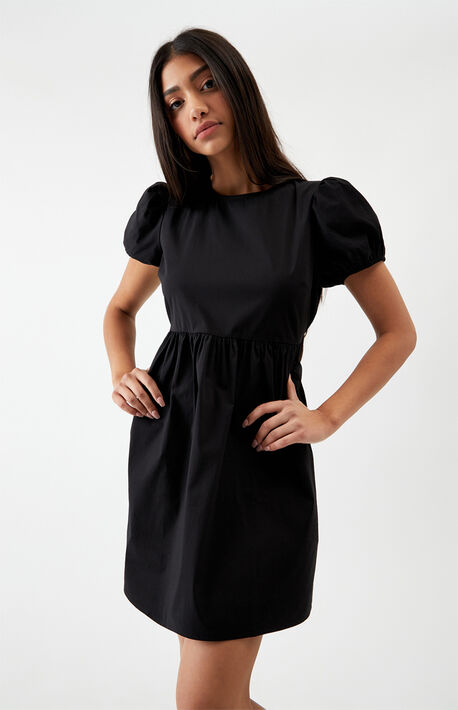 Lace-Up Back Poplin Dress
