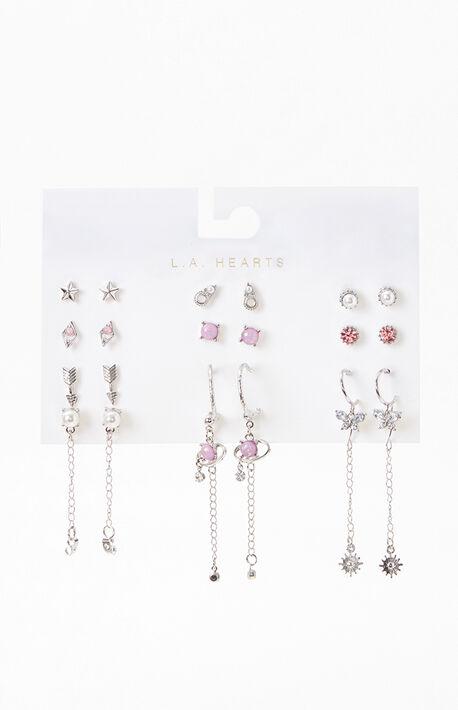 12 Pack Purple Earrings