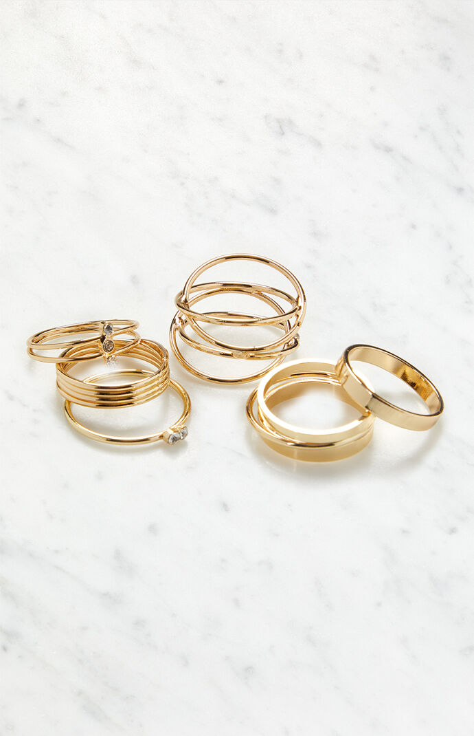 Gold Stacked Ring Pack