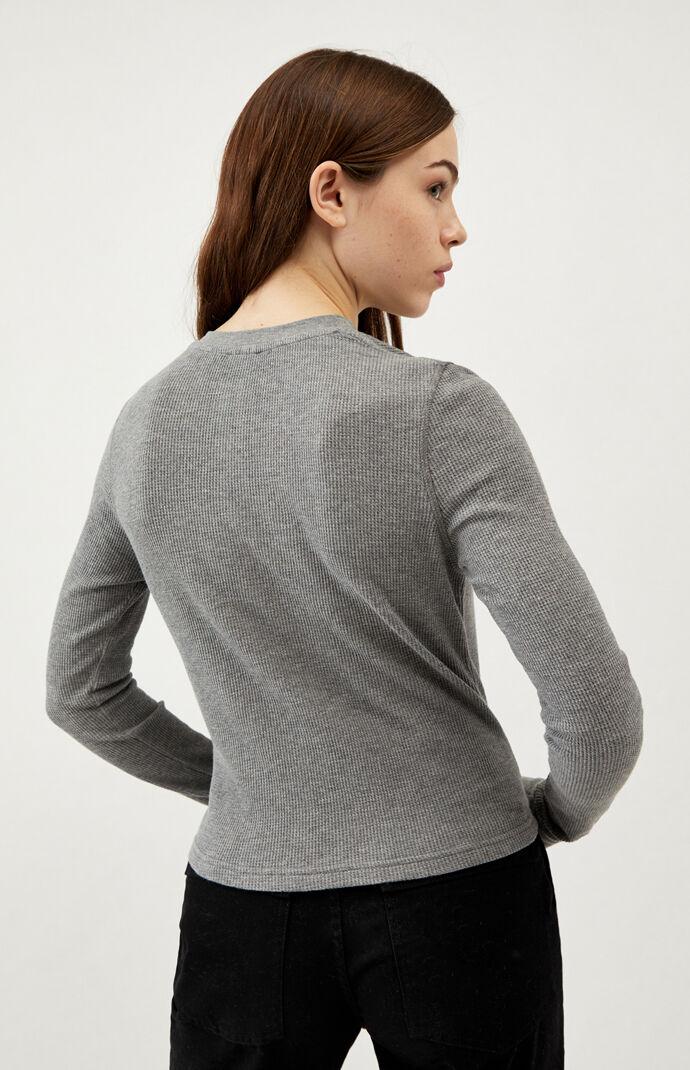 Reverse Dot Long Sleeve Henley T-Shirt