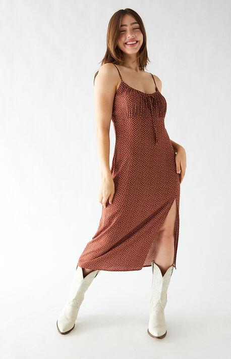 Shirred Bodice Midi Dress