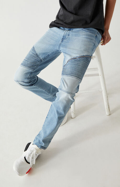 Light Indigo Biker Stacked Skinny Jeans