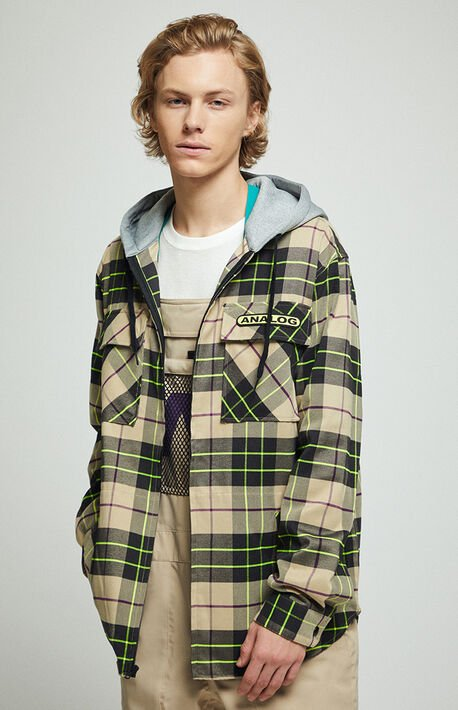 Tan Integrate Hooded Plaid Flannel Shirt