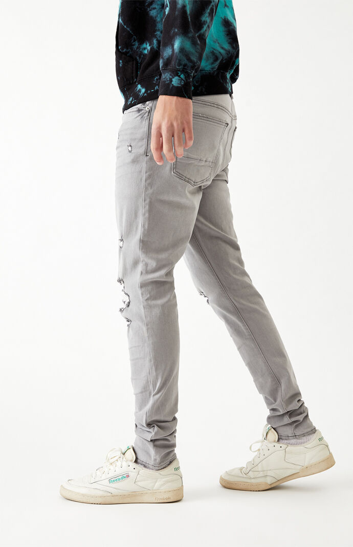 Gray Ripped Stacked Skinny Jeans