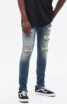 Stacked Skinny Vertical Stretch Zip Destroy Indigo Jeans