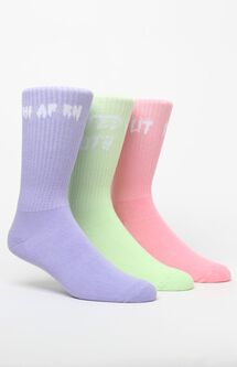 Basic 3 Pack Green Pink & Purple Crew Socks