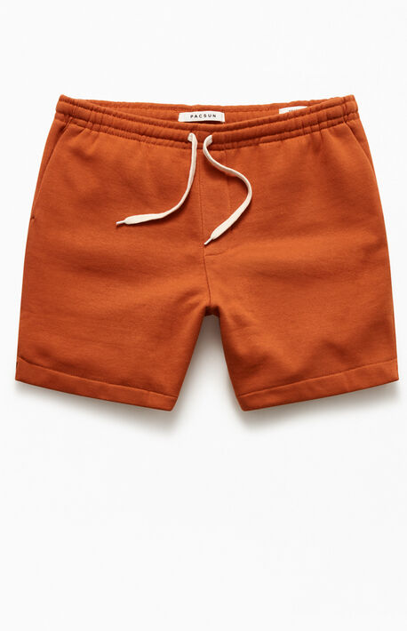 Brown Fleece Drawstring Volley Shorts