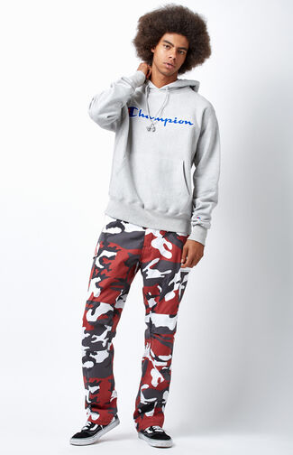 White & Red Camouflage Tactical BDU Cargo Pants
