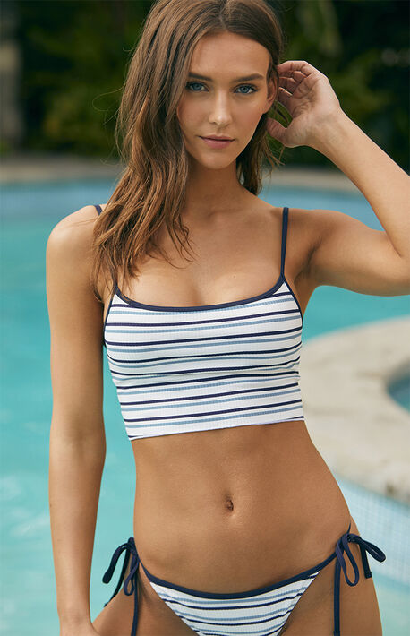 fa27bd50a16 Striped Kinga Cropped Bikini Top