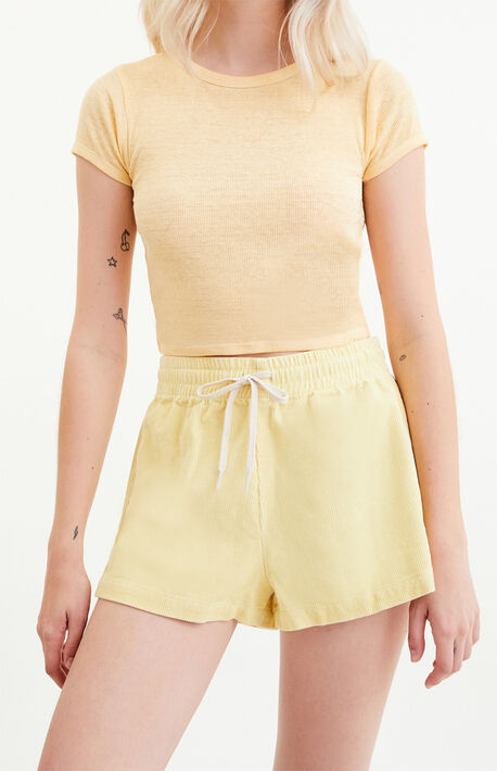 Pale Banana Corduroy Shorts