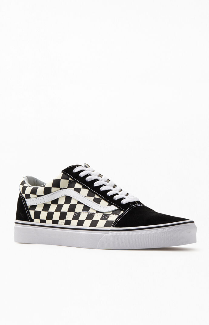 27af58f30c7297 Vans Primary Check Old Skool Black and White Shoes at PacSun.com