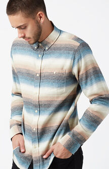 Steezy Striped Flannel Long Sleeve Button Up Shirt