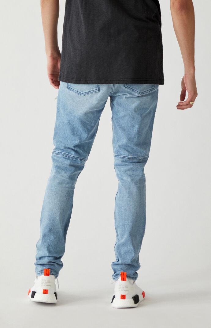Light Indigo Biker Stacked Skinny Jeans