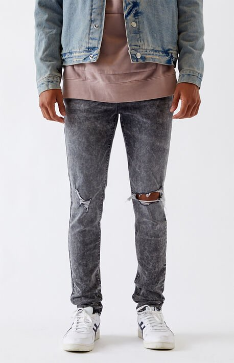 Black Acid Ripped Stacked Skinny Jeans