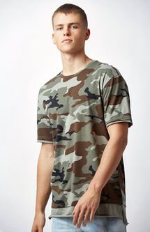 Shosh Camouflage Layered Extended Length T-Shirt