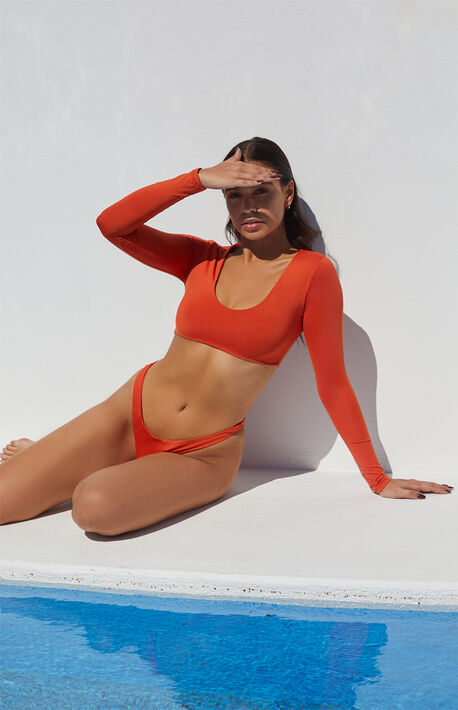 Eco Burnt Orange Sig Long Sleeve Cropped Bikini Top