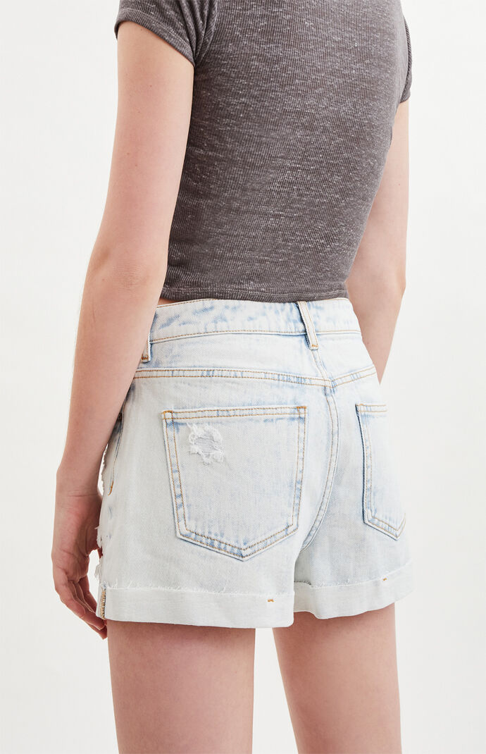 Mystic Blue Denim Mom Shorts