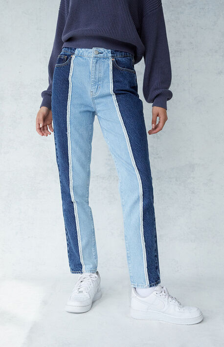 Two-Tone Cut & Sew Mom Jeans
