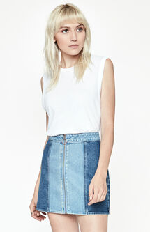 Paneled Zip Front Denim Skirt