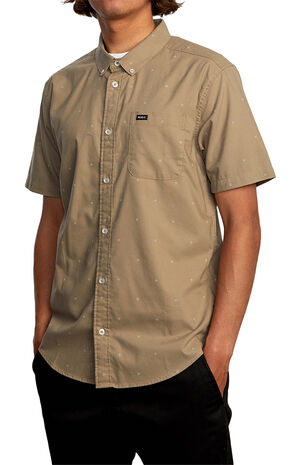Tan That'll Do Printed Button Up Shirt image number null