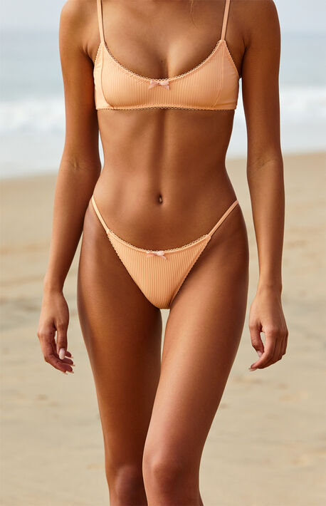 Peach Juliana Ribbed Bow Bikini Bottom