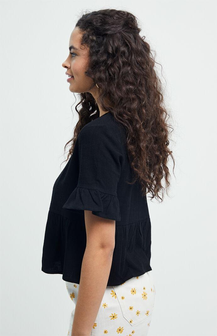 Ruffle Sleeve Linen Top