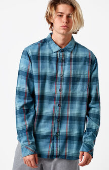 Coastline Plaid Flannel Long Sleeve Button Up Shirt